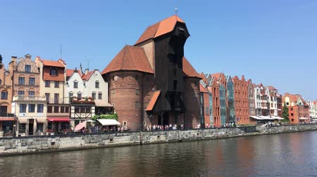 polska : Cityscape of Gdansk at the river Motlawa with Crane gate - Poland.