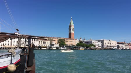 Grand Canal in San Marco with Doges Palace and the Campanile of Venice - Italy. Stock mozgókép