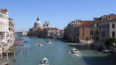 Grand Canal in San Marco with view of the Basilica Santa Maria della Salute in Venice - Italy.