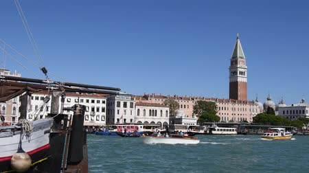 Grand Canal in San Marco with view to Campanile of Venice - Italy.