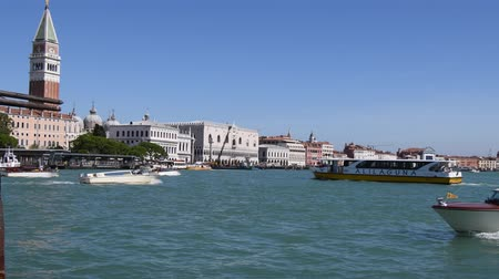 Grand Canal in San Marco with view to Campanile and Doges Palace of Venice - Italy.