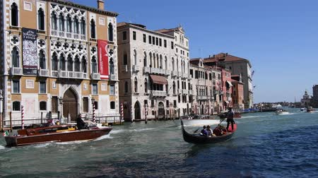 Gondola ride on Grand Canal in Venice - Italy Stock mozgókép