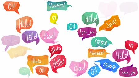 Speech bubbles with Hello on different languages Стоковые видеозаписи