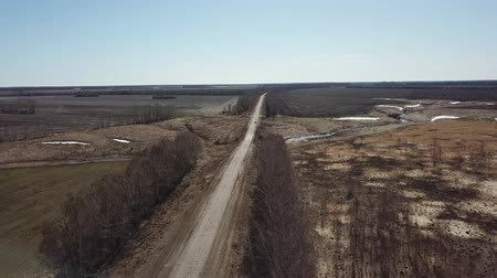 Road in the fields. Ryazan Region landscape. Russia. Spring nature, Aerial view