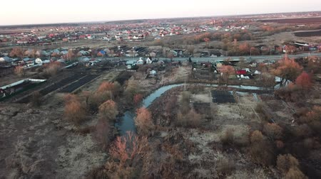 arrabaldes : The river Voblya in the city of Lukhovitsy. Aerial view landscape