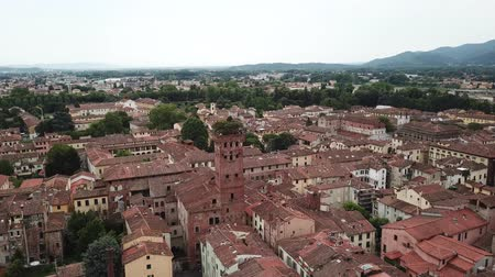 Lucca city. Aerial view landscape. Tuscany Italy. View from above Стоковые видеозаписи