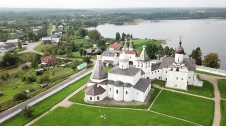 The Ferapontov Monastery on the shore of the Borodaevsky Lake. Vologda. Russian landscape Стоковые видеозаписи