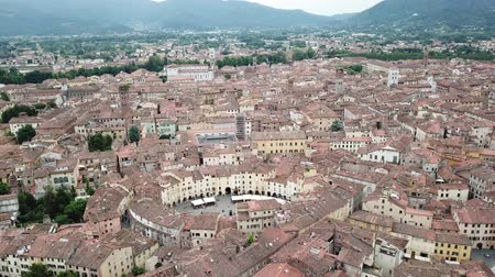 Amphitheater Square in Lucca city. Aerial view landscape. Tuscany Italy. View from above Стоковые видеозаписи
