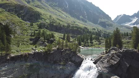 ladin : Kuiguk valley. Lake and waterfall in Altai mountains. Aerial view landscape