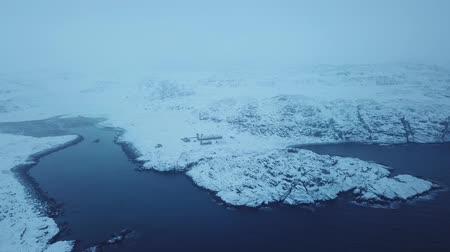 Barents Sea or Arctic Ocean Shore. Kola Peninsula winter landscape