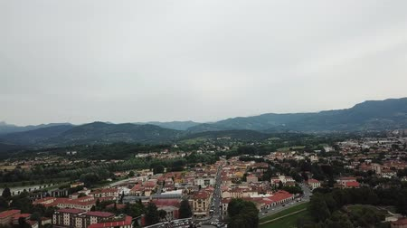 Modern part of Lucca city. Aerial view landscape. Tuscany Italy. View from above