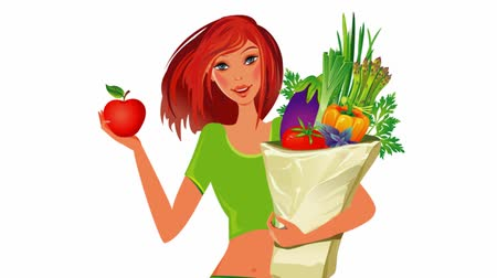 диета : Girl with bag full of healthy food. Diet concept. Стоковые видеозаписи