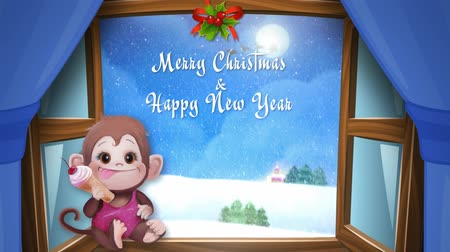 pozdrav : Snowy day at Christmas and New Year. Christmas monkey