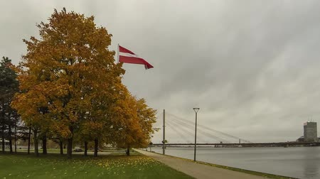 balti tenger : Timelapse of the Latvia Flag and Ansu Bridge Over River Daugava Riga Latvia.