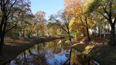 riga : Riga Canal in autumn that flows through Bastion hill park (Bastejkalns). Latvia Stock Footage