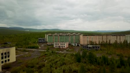 relics : Kadykchan ghost town. Siberian ghost town built by gulag prisoners during World War II. Kolyma Magadan region Stock Footage