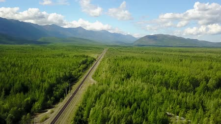 Bam road to Magadan in Siberia. Baikal-Amur Mainline. Russia. Areal Dron Shoot. Dostupné videozáznamy