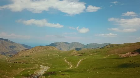 alay valley : Valley Mountain Landscape Kyrgyzstan. Western Kyrgyzstan Pamir Mountains Landscape. Travel Asia. Stock Footage