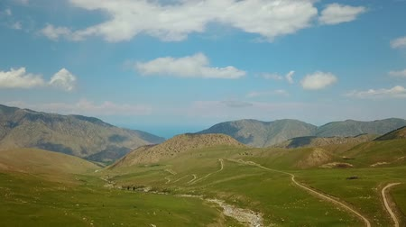 merkezi : Valley Mountain Landscape Kyrgyzstan. Western Kyrgyzstan Pamir Mountains Landscape. Travel Asia. Stok Video
