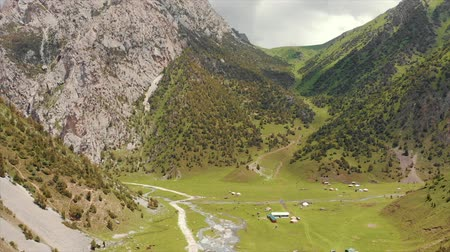 territorial : Murdash Village Alay Valley Kyrgyzstan Osh Region. A View of Alay Valley, Trans-alay Range, and Kyzyl-suu (West) River. Alay Mountains. Stock Footage