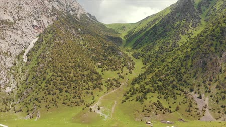lenin : Murdash Village Alay Valley Kyrgyzstan Osh Region. A View of Alay Valley, Trans-alay Range, and Kyzyl-suu (West) River. Alay Mountains. Stock Footage