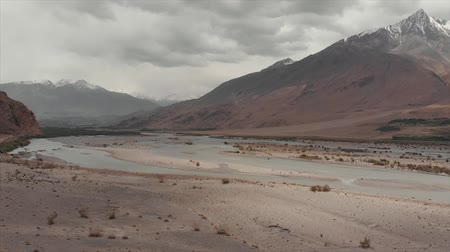 pamirs : View of the Pamir, Afghanistan and Panj River Along the Wakhan Corridor. The Afghanistan-tajikistan Border. M41 Pamir Highway.