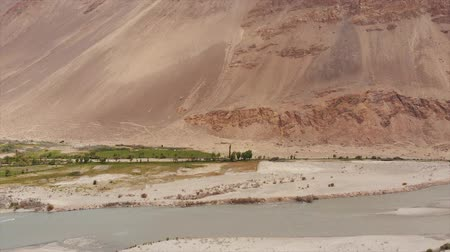pamir : View of the Pamir, Afghanistan and Panj River Along the Wakhan Corridor. The Afghanistan-tajikistan Border. M41 Pamir Highway.