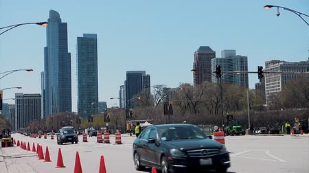 expanding : CHICAGO, ILLINOIS - April 30, 2015: Near north side road closed by Grant Park in preparation for the NFL Draft event.