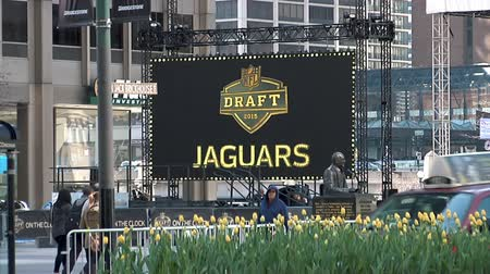 american football player : Chicago - April 30, 2015 Nfl Draft Billboards in the Draft Town in Grant Park