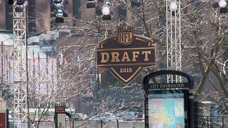 super bowl : Chicago - April 30, 2015 Nfl Draft Billboards in the Draft Town in Grant Park