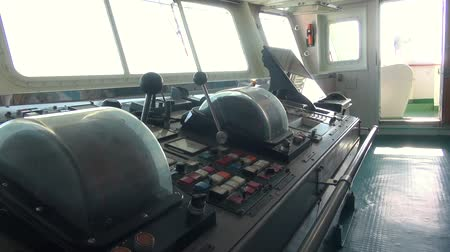command : Navigation Bridge of Ship Captains Wheel, Control of the Ship, Steering Wheel. View of Sailing Master Navigator Room