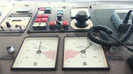 comando : Navigation Bridge of Ship Captains Wheel, Control of the Ship, Steering Wheel. View of Sailing Master Navigator Room