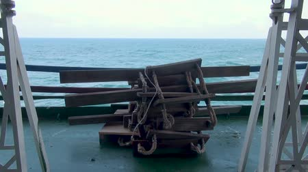 navy pier : Rope ladders on ship board. Escape rope. Stock Footage