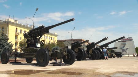 old times : Volgograd, Russia - JUNE 24. 2018. Exhibition of military equipment from times of Second World War near the Museum of the Battle of Stalingrad