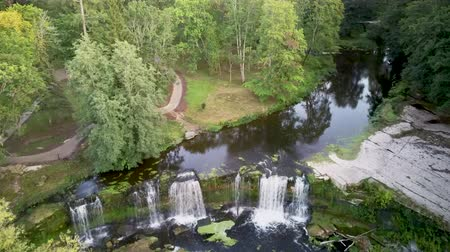 Észtország : Aerial Landscape of the Keila Waterfall Estonia Located on Keila River in Harju County. A Full 6 Metres High, and Tens of Metres Wide, is the Third Largest Waterfall in Estonia