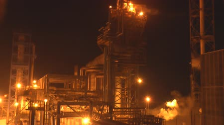 ironworks : Air Pollution From Industrial Enterprise Night Landscape