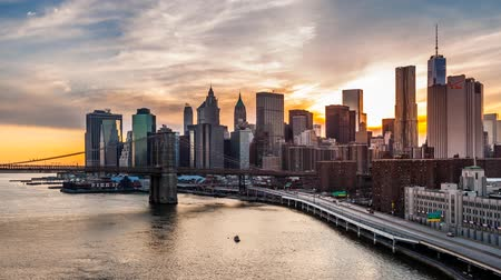sunset city : Sunset, Dusk and night over the New York Financial District