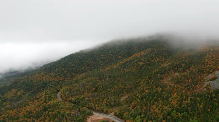 enrolamento : Aerial pull-back shot above Mount Washington Auto Road in New Hampshire. A thick layer of clouds covers the mountain peak. Vídeos