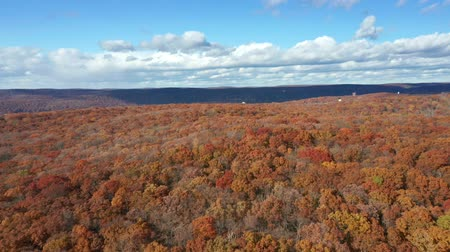 Luchtfoto drone vlucht over Mount Hope Historical Park, in New Jersey op een zonnige herfstdag (teruggetrokken beweging)