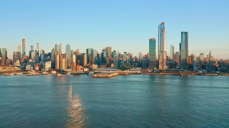 midtown : Aerial drone footage of New York skyline as viewed from Weehawken, NJ.
