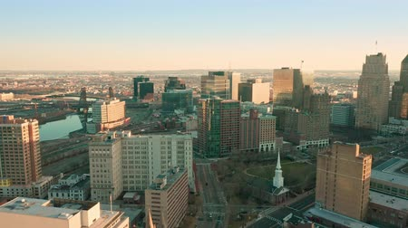new jersey : NEWARK, NJ - DECEMBER 23, 2018: Drone footage of Newark downtown with pullback camera movement. Newark is the most populous city in NJ and one of the nations major air, shipping, and rail hubs.
