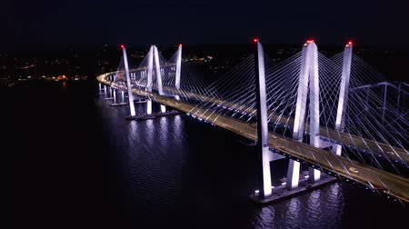 stayed : Drone footage of the new cable-stayed Tappan Zee bridge by night. Tappan Zee bridge spans Hudson river between Nyack and Tarrytown in New York State