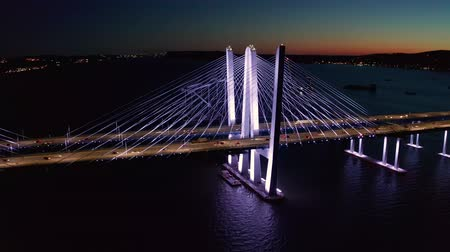 Drone footage of the new cable-stayed Tappan Zee bridge by night. Tappan Zee bridge spans Hudson river between Nyack and Tarrytown in New York State
