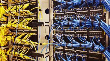 part of clip : Rack with generic network cat5e cables, part of a large company data center Stock Footage