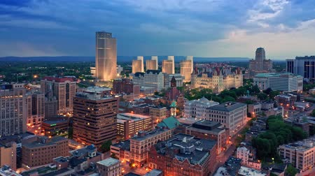Drone footage of Albany, New York downtown at dusk, with rotating camera motion. Albany is the capital city of the U.S. state of New York and the county seat of Albany County 무비클립