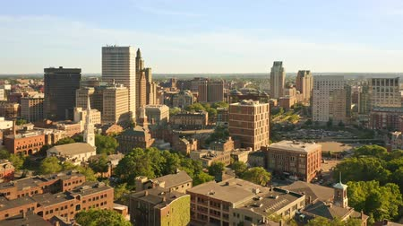 Late afternoon drone footage of Providence, Rhode Island with uplift camera motion from Prospect Terrace park, revealing the city skyline. Providence is the capital of Rhode Island. 무비클립