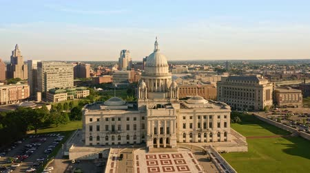 rhode : Drone footage of Providence, Rhode Island on a late sunny afternoon. The camera rotates around the state capitol. Providence is the capital city of the U. S. state of Rhode Island.