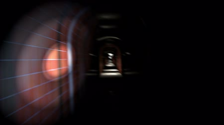 испуг : Point of view animation of a person in great panic running through a sparsely lit hallway Стоковые видеозаписи