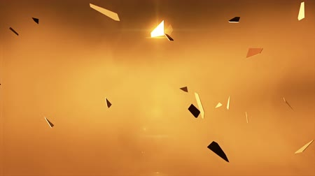 złoto : Flying fragments of gold.  Flakes of shiny gold flying through the air. Abstract background animation. Perfect loop.