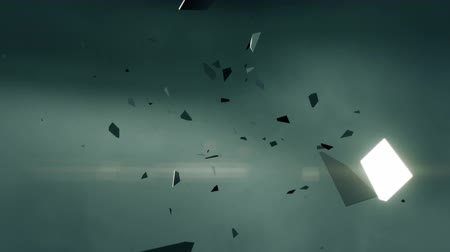 hátterekkel : Flying fragments of metal.  Shattered pieces of shiny metal flying through the air after an explosion. Abstract background animation. Perfect loop.